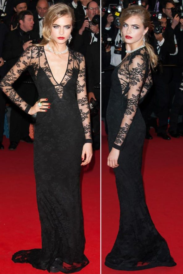 cara-delevingne-black-lace-dress-cannes-2013-red-carpet