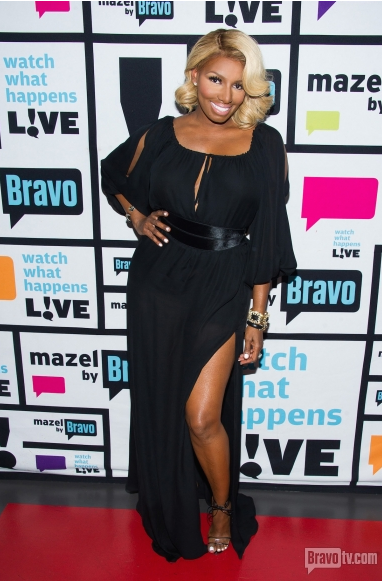 Nene-Leakess-Watch-What-Happens-Live-Michael-Costello-Custom-Black-Dress-and-Manolo-Blahnik-Tie-Sandals