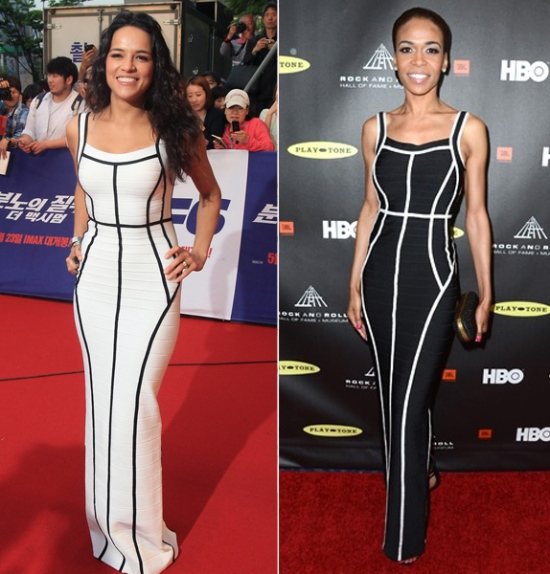 Michelle-Rodriguez-vs.-Michelle-Williams-in-Hervé-Léger's-Bandage-Gown-