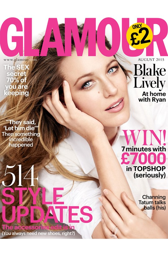Blake Lively Covers Glamour Magazine Uk August 2015 Fashionandstylepolice