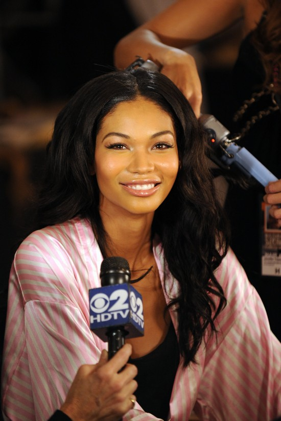 NEW YORK - NOVEMBER 19: Model Chanel Iman poses backstage at the Victoria's Secret fashion show at The Armory on November 19, 2009 in New York City. (Photo by Bryan Bedder/Getty Images)