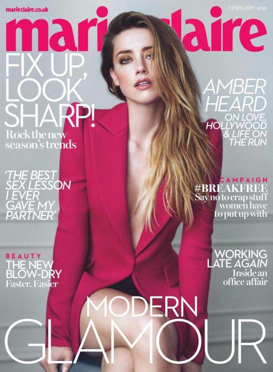 Amber Heard Covers Marie Claire Uk February 2016