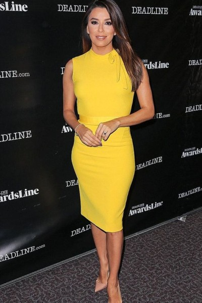 Steal-Eva-Longoria-Deadline-Los-Angeles-Zara-Yellow-Tube-Dress-5-400x600