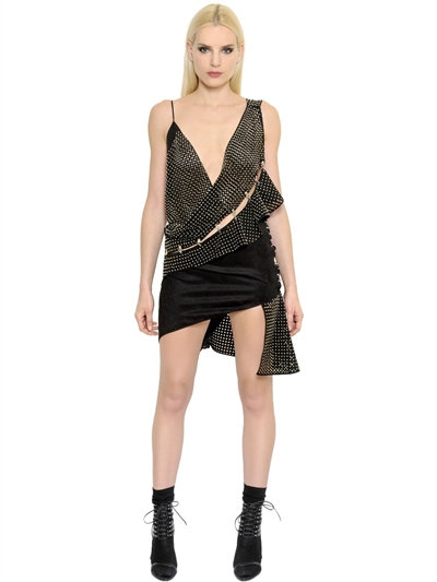 anthony-vaccarello-black-studded-perforated-faux-suede-dress