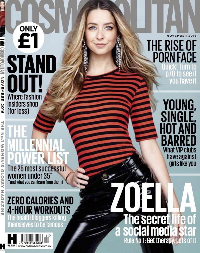 Zoella Covers Cosmopolitan Uk November 2016 Fashionandstylepolice