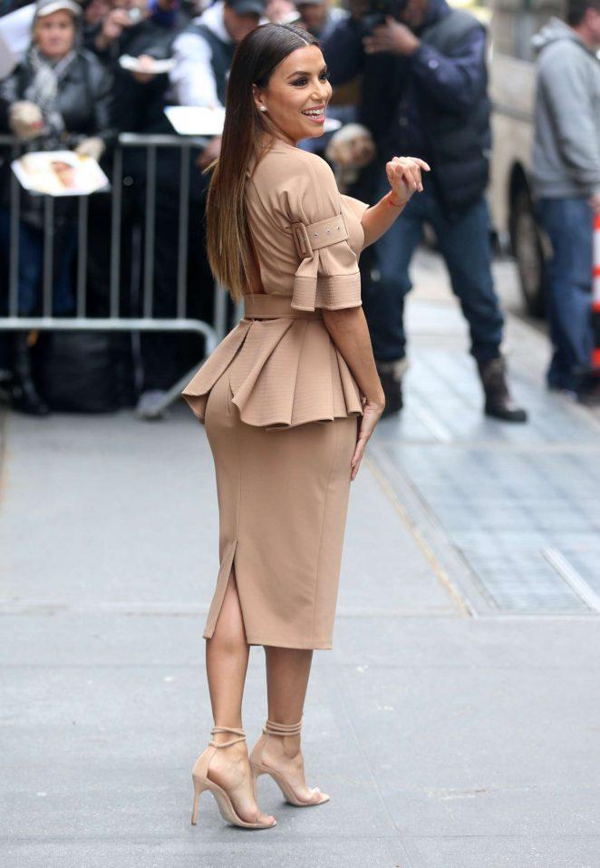 Eva Longoria In Julea Domani Camel Peplum Dress Fashionandstylepolice Fashionandstylepolice